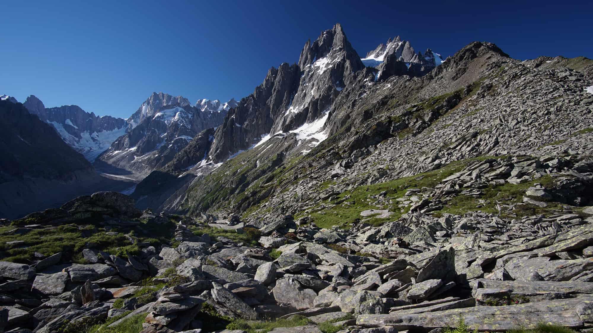 Enfilade Grands Charmoz et Grandes Jorasses à Chamonix